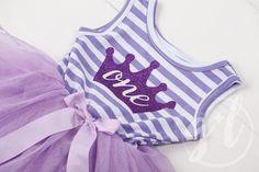 "Birthday Dress Purple Crown ""ONE"" Purple Striped Sleeveless 1st Birthday Dresses, First Birthday Outfits, 2nd Birthday, Purple Tutu, Purple Dress, Tutus For Girls, Dress For You, Dress Outfits, Crown"