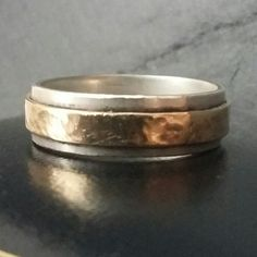 Silver and gold wedding band. www.etsy.com/shop/ILoveDolly