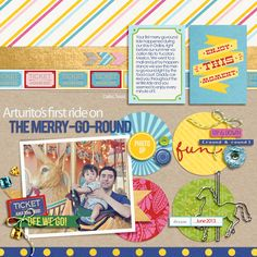 "Carnival Carousel Digital Scrapbook page created by raquels featuring ""Project Mouse (Fantasy)"" by Sahlin Studio"