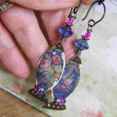 Boucles d'oreille vintage,bohème*petits poissons russes*pendentif…