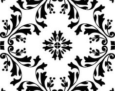 Reusable Laser-Cut Large Floor or Wall Tile Stencil #59 fits 9x9 inch to 17x17 inch