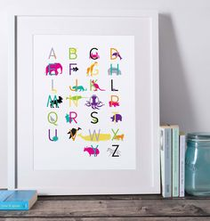 Available in the top three most popular frame sizes, this modern alphabet will add just the right touch to your kids room or playroom! Printable Art, Printables, Art Area, Kids Room Wall Art, Alphabet Art, Letter Size Paper, Frame Sizes, 4 Kids, Playroom