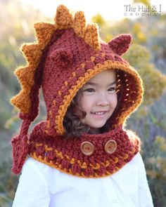 CROCHET PATTERN - Lucky Dragon Hood & Cowl - a crochet dragon hooded cowl…