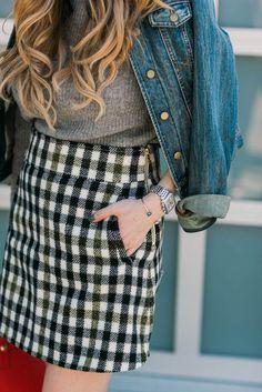 Skirt: tumblr mini checkered checkered sweater grey sweater jacket denim jacket watch plaid grid