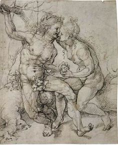 Adam and Eve - Jan Gossaert (Mabuse).  1520-25.  Pen and brown ink over black chalk or charcoal.  259 x 211 mm.  Graphische Sammlung Albertina, Vienna, Austria.