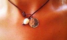 Freshwater Pearl and Leather Personalized Lariat Free Shipping to US on Etsy, $25.00