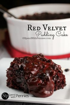 This Gooey Red Velvet Pudding Cake is deliciously decadent and irresistible! This moist cake creates its own sauce to spoon overtop!