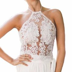 Elegant and sexy lace top. *Runs slightly small, order one size up.*Length: 39 cm (S size)*Bust: 80 cm*Model is wearing S size. Stylish Tops, Short Tops, Lace Design, White Lace, Elegant, Wedding Dresses, Model, How To Wear, Halter Neck