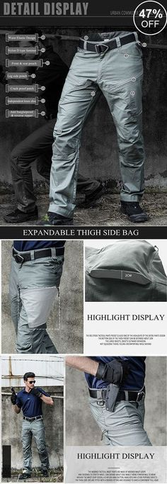 754a90ca54b Mens Outdoor Muti-Pockets Pants Water-repellent Tactical Pants Military  Training Pants is warm