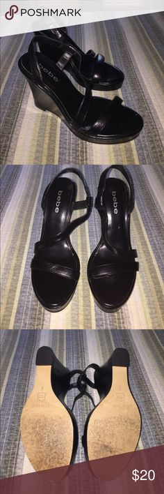 Bebe wedge Sandals Used but still great condition 👍🏻 bebe Shoes Wedges