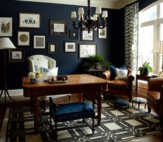 Blue Walls And Bookcases Porter Design. Want To Do In Our Library. | { Home  Lust } | Pinterest | Grey Walls, Nesting Tables And Girls