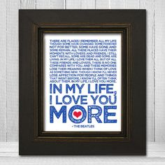 In My Life 11x14  Beatles Song Lyric Print  The by TheLemonPeel, $20.00.