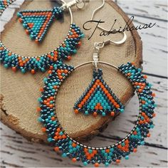 Ring earring, Miyuki pearl, turquoise and orange earring – … - Perlen Schmuck Seed Bead Jewelry, Seed Bead Earrings, Gold Hoop Earrings, Beaded Necklace, Beaded Bracelets, Diy Jewelry, Jewelry Making, Jewelry Ideas, Making Bracelets
