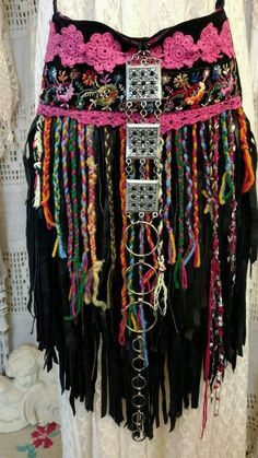 Handmade Black Suede Leather Fringe Cross Body Bag Vintage Lace Purse tmyers #Handmade #MessengerCrossBody