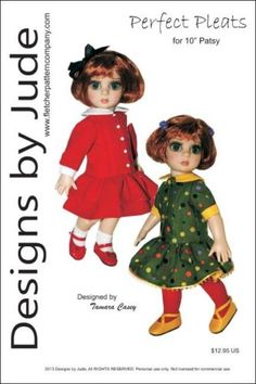 """Pleated Dress Doll Clothes Sewing Pattern 14.5/"""" Flexi Pose Agnes Tonner"""