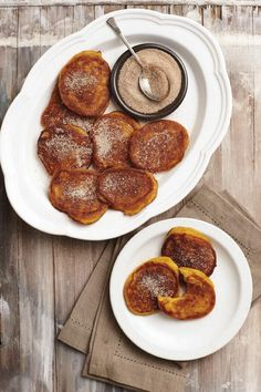 Pumpkin fitters sprinkled with cinnamon sugar give milk tart a fair go as ''the most typical'' South African pudding - courtesy Micky Hoyle Dutch Recipes, Cooking Recipes, Pumpkin Fritters, Pumpkin Recipes, Pumpkin Cakes, Dinner Dishes, Side Dishes, South African Recipes, Pancakes