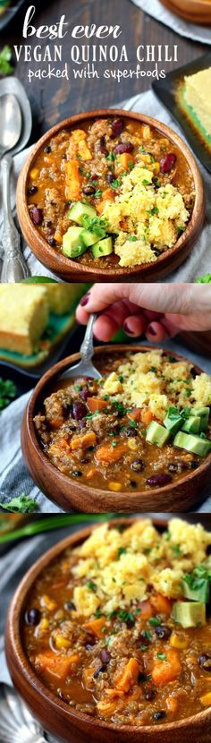 Best ever vegan quinoa chili – the perfect bowl of comfort! A mouthwatering blend of flavors in the best ever vegan quinoa chili – the perfect bowl of comfort and yumminess that you can enjoy guilt-free! Vegan Quinoa Recipes, Vegan Foods, Vegan Dishes, Veggie Recipes, Whole Food Recipes, Vegetarian Recipes, Cooking Recipes, Healthy Recipes, Vegan Meals