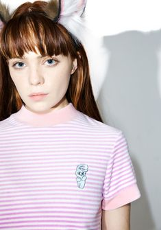 Lazy Oaf Esther Love Oaf Smoking Bunny Shirt oh man, bein' cute sure can get stressful~! Lounge around in this mega cute cropped tee, featurin' a plush striped velour construction, mock neck, thick pastel pink banding, and lil smoking bunny patch on the chest.
