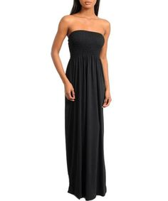 Amazon.com: Strapless Straight Across Neckline Maxi Dress Black Womens: Clothing