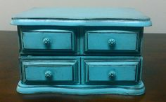 HandPainted Bright Blue Jewelry Box by thefunsister on Etsy, $30.00