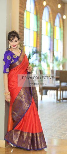 New Exclusive Wedding Saree Collection - Priva Collective Blue Silk Saree, Orange Saree, Indian Silk Sarees, Red Saree, Saree Look, Cotton Saree Designs, Silk Saree Blouse Designs, Orange And Blue Combination, Saree Color Combinations