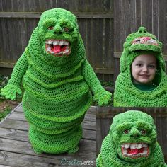 Oops, She Did It Again ... This Time She Crocheted a Slimer Costume - IT GLOWS! Cosplay by Stephanie Pokorny aka Crochetverse #cosplay #crochet Crochet Halloween Costume, Amazing Halloween Costumes, Crochet Costumes, Halloween Kids, Crochet Hats, Knit Crochet, Creepy Costumes, Halloween Stuff, Bright Green