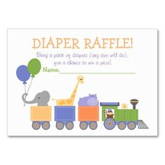 Classic Animals All Aboard! Diaper Raffle Tickets Large Business Cards (Pack Of Baby Sprinkle Games, Baby Sprinkle Invitations, Custom Baby Shower Invitations, Sprinkle Shower, Pack Of Diapers, Diaper Raffle Tickets, Baby Shower Fun, For Your Party, Business Cards
