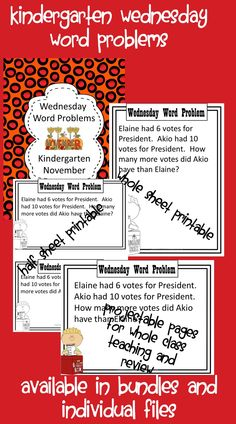 $Wednesday Word Problems are an easy and consistent to practice word problems.  This product includes 5 different problems for the month of November. These problems will easily fit in with fall, voting, elections, Election Day, Thanksgiving, veterans, Veteran's Day, Pilgrims and Native Americans.