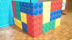 We built this 'lego block' for our puppet Rivet for 2014's Vacation Bible School -- Workshop of Wonders through Cokesbury.