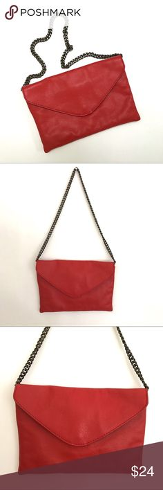 """J Crew Envelope Shoulder Red Leather Chain Handbag J Crew Envelope Shoulder Red Leather Chain Handbag. Bronze shoulder chain can be tucked away. Inside pocket and back pocket. Measured approx 10"""" across by 7"""" high, shoulder drop 12"""". Please let me know if you have any questions. J. Crew Bags Shoulder Bags"""