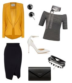 """""""Pop of Color Business Casual"""" by tylir-penton on Polyvore featuring Hebe Studio, Jimmy Choo, Balenciaga and Fallon"""