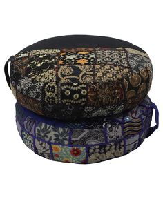 Handmade meditation cushion with vintage embroidered detailing. Made in India. Meditation cushions and supplies available at BuddhaGroove.com.