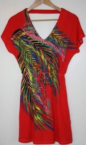 multi-color palm-leaf-patterned derek heart dress with cap sleeve, cutout in back and faux drawstring from Ross Dress for Less
