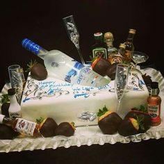 Adult Birthday Cakes for Men Birthday Cake For Him, Birthday Cakes For Men, Adult Birthday Party, Men Birthday, Birthday Cake Ideas For Adults Men, Cupcakes, Cupcake Cakes, Deco Cupcake, Liquor Cake