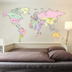 World map outline wall decal collage use 333 pinterest printed colour world map wall sticker gumiabroncs Gallery