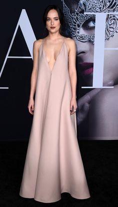 Dakota Johnson in Valentino attends the premiere of L.A. premiere of 'Fifty Shades Darker'. #bestdressed