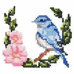 bird1 - Machine Embroidery Cross Stitch Bird and Flower