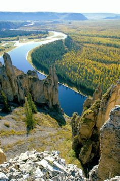 Lena Pillars Nature Park is marked by spectacular rock pillars that reach a height of approximately 100 m along the banks of the Lena River in the central part of the Sakha Republic, eastern Siberia, Russia Beautiful World, Beautiful Places, Amazing Places, Places Around The World, Around The Worlds, Places To Travel, Places To Visit, Adventure Is Out There, Solo Travel