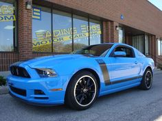For Sale: THE BOSS 302! Rare opportunity to own this beautiful flawless Mustang! 444 Horsepower. Grabber Blue on Black Recaro Sport seats, Boss 302 cover, cue ball shifter, quad exhaust, Xenon Headlamps, Ford Race Key, and upgraded gauge package! Get your dream car today! Only a few in Canada. Don't miss out. Only 8500km $44,977    www.lemc.ca/inventory.php