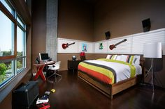 Nice Choices of Amazing Teenage Rooms for Your Children: Cool Brown Themed Amazing Teenage Rooms Idea With Wooden Bed And Dark Furniture Hit...