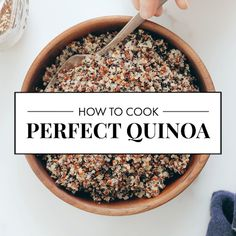 Learn how to cook perfect quinoa, every time! This method works best to cook fluffy quinoa for your favorite quinoa recipe. Learn how to cook perfect quinoa, every time! This method works best to cook fluffy quinoa for your favorite quinoa recipe. Vegetarian Recipes, Cooking Recipes, Healthy Recipes, Cooking Pasta, Cooking Bacon, Cooking Oil, Healthy Quinoa Recipes, Quinoa Food, Crispy Quinoa