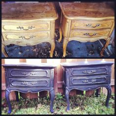 Before & after end tables - Annie Sloan Chalk Paint in Graphite