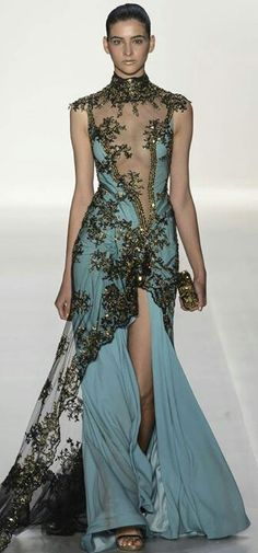 Gown love the blue under black lace. Over elegent