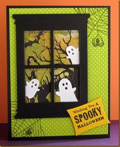 Adorable ghost themed Halloween card. #cute #paper_crafts #cards