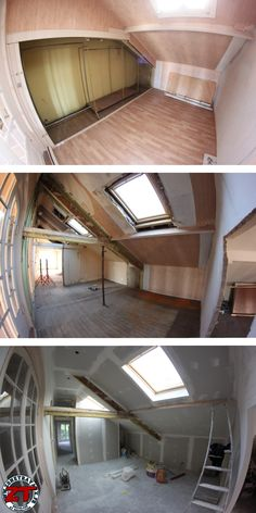 Rénovation maison : futur dressing avec décloisonnage, pose de velux, électricité, isolation, et poutres apparentes