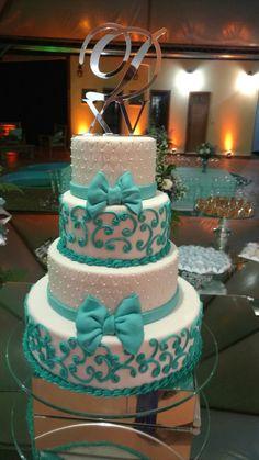 Bolo 60th Birthday Cakes, Sweet 16 Birthday, Wedding Cake Designs, Wedding Cakes, Sweet 15 Cakes, Glitter Cake Pops, Aqua Cake, No Bake Cake Pops, Quince Cakes