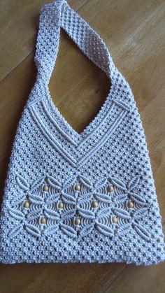 Vintage Cream MACRAMÉ SHOULDER BAG Crocheted Tote Purse Handbag Bohemian Hippie Shabby Chic hippie