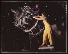 Women are trained to do precise and vital engine installation detail in Douglas Aircraft Company plants, Long Beach, Calif. (LOC) by The Library of Congress, via Flickr