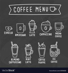 Coffee menu chalk drawing on a blackboard Vector Image Coffee Doodle, Coffee Cup Art, Coffee Room, Coffee Corner, Coffe Bar, Coffee Chalkboard, Blackboard Menu, Blackboard Drawing, Chalk Menu