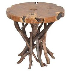 Side table crafted from solid teak wood branches. Each design is unique.   Product: Side tableConstruction Material: Teak woodColor: NaturalDimensions: 22 H x 22 DiameterCleaning and Care: Remove dust with a soft, lint free cloth